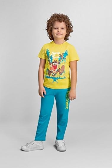 Tazmanya  Lisanslı Sarı Erkek Çocuk Pijama Takımı Sarı